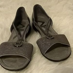Anne Klein, silver sandals. Open toes, rubber sole